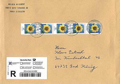 Briefmarken Universum Ausstellung Blumen 95 Cent Sonnenblume